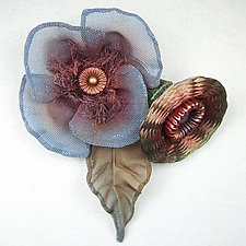 Poppy and Bud Pin by Sarah Cavender (Metal Brooch)