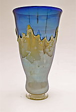 Silver Blue with Yellow Iris Overlay Vase by Dierk Van Keppel (Art Glass Vase)