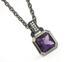 Oblique Pendant in Blackened Silver + Amethyst by Catherine Iskiw (Silver & Stone Necklace)