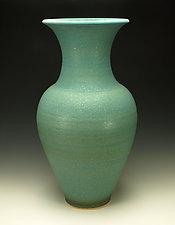 Turquoise Copper Matte Glazed Vessel by Lance Timco (Ceramic Vessel)