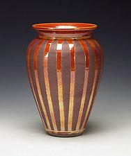 Golden Striped Raku Vessel by Lance Timco (Ceramic Vessel)