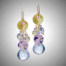 Blue Quartz, Citrine, and Amethyst Earrings by Judy Bliss (Gold & Stone Earrings)