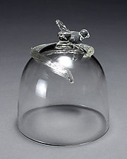 Bird Bell Jar Cutting Board Cover by Frost Glass (Art Glass Bell Cover)