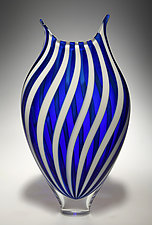 White and Cerulean Foglio by David Patchen (Art Glass Vessel)
