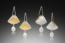 Fan Pearl Drop Earrings by Thea Izzi (Gold, Silver & Pearl Earrings)