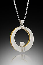 Mod Circle Single Pendant with Pearl by Thea Izzi (Gold, Silver & Pearl Necklace)