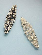 Crocheted Pod Pin by Randi Chervitz (Silver & Pearl Brooch)