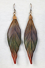 Mesh Poppy Leaf Earrings by Sarah Cavender (Metal Earrings)