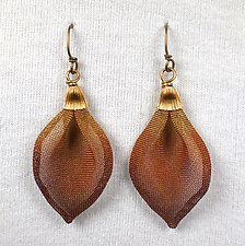 Single Lotus Petal Drop on Wire by Sarah Cavender (Metal Earrings)