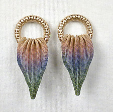 Pleated Leaf Earrings by Sarah Cavender (Metal Earrings)