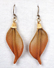 Twist Leaf Earrings by Sarah Cavender (Metal Earrings)