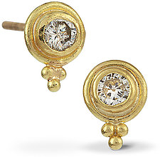22k Gold & Diamond Studs by Nancy Troske (Gold & Stone Earrings)