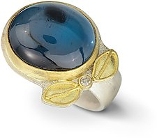 London Blue Topaz & Diamond Leaf Ring by Nancy Troske (Gold & Stone Ring)