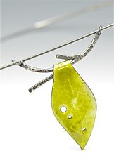 Enamel Leaf and Twig Choker Necklace by Reiko Miyagi (Enameled Necklace)