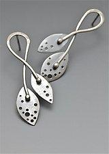 Twin Leaf Sterling Post Earrings by Reiko Miyagi (Silver Earrings)
