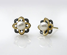 Flower Pearl Studs by Keiko Mita (Gold, Silver & Stone Earrings)