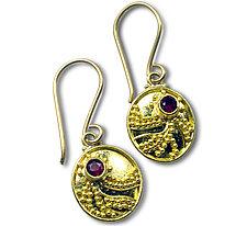 Oval Granulated Earrings by Nancy Troske (Gold & Stone Earrings)