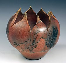 Horsehair Lotus Bowl by David Gordon (Ceramic Bowl)