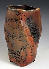Horsehair Swirled Vase by David Gordon (Ceramic Vase)