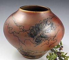 Horsehair Elliptical Pot by David Gordon (Ceramic Vase)