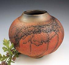 Horsehair Crackle Pot by David Gordon (Ceramic Vase)