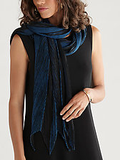 Arashi Shawl in Sapphire and Black by Anne Vincent  (Silk Scarf)