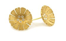 Flower Earring in 18K and Diamond by Catherine Iskiw (Gold & Stone Earrings)