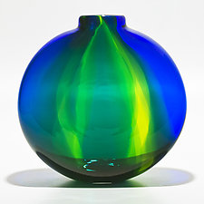 Cerulean Ribbon Vase by Michael Trimpol and Monique LaJeunesse (Art Glass Vase)