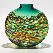 Emerald Optic Rib Vase by Michael Trimpol and Monique LaJeunesse (Art Glass Vase)