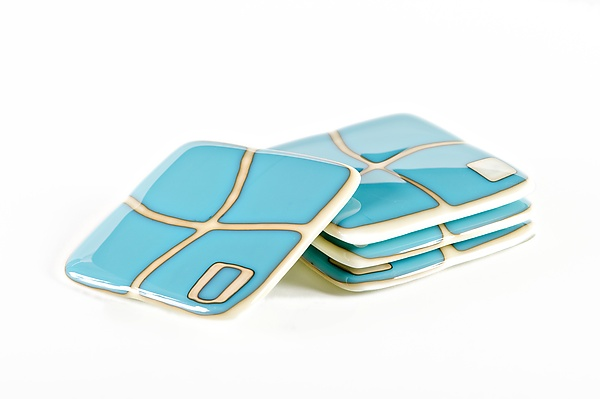 Turquoise on Ivory Mod Squad Coasters