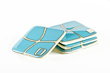 Turquoise on Ivory Mod Squad Coasters by Helen Rudy (Art Glass Coasters)
