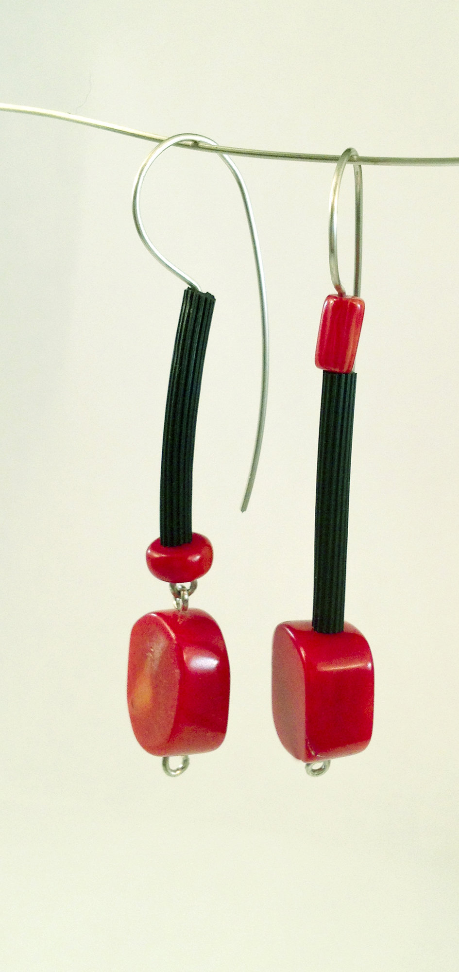 Fun with Coral Earrings by Dagmara Costello (Rubber & Stone Earrings)