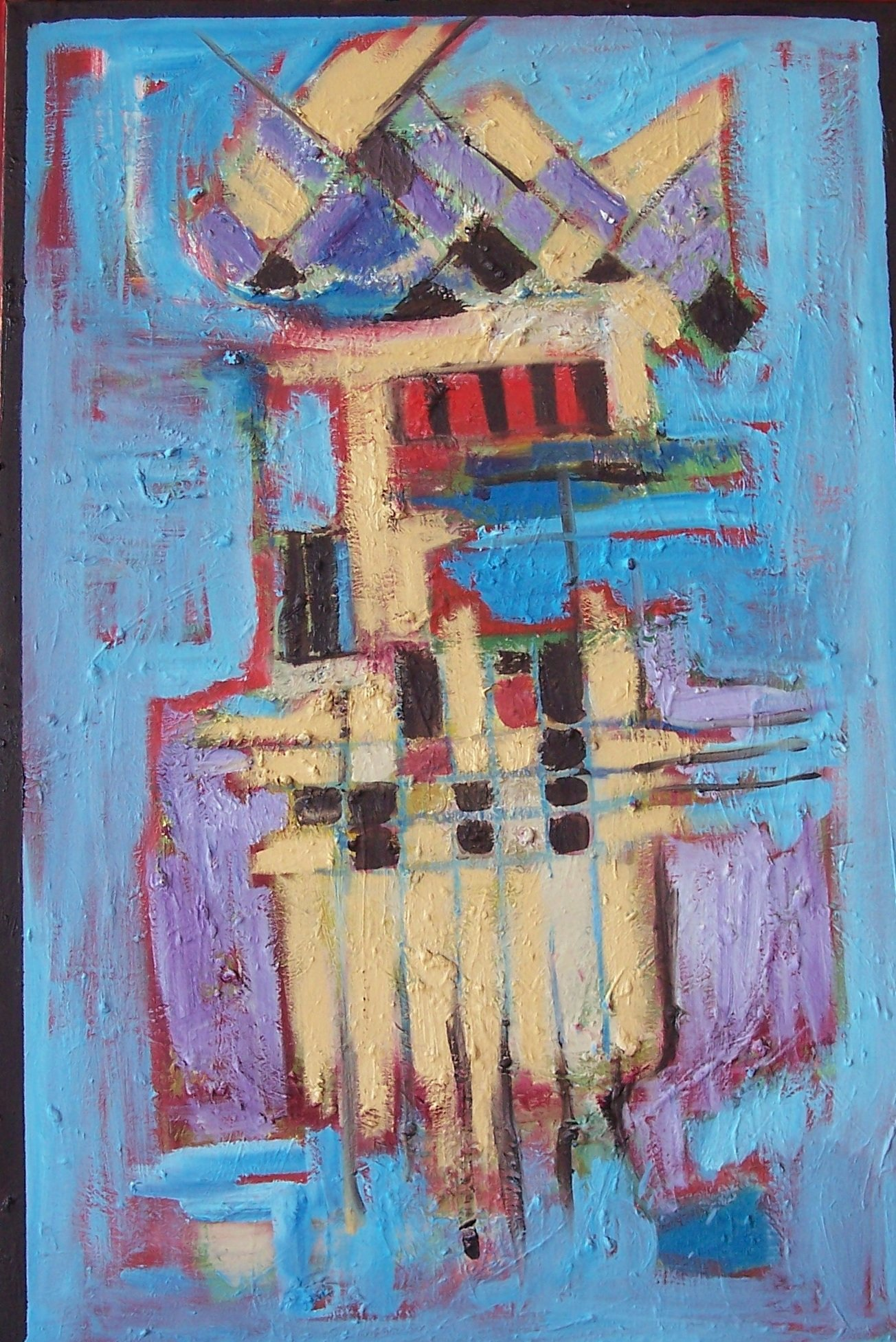 Abstract Blue, Red, Tan by Elisa Root (Oil Painting)