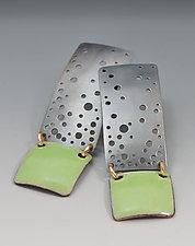 Mint Green Starry Night Enamel Earrings by Reiko Miyagi (Enameled Earrings)