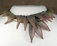 Fine Mesh Leaves Necklace by Sarah Cavender (Metal Necklace)