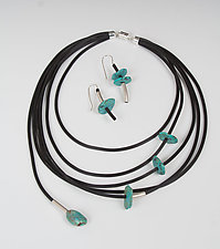 Sassy Necklace and Fun with Turquoise Earrings by Dagmara Costello (Silver, Rubber, & Stone Jewelry)