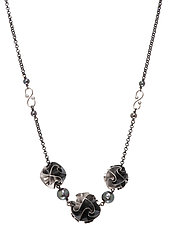 3 Bead Flora Necklace in Oxidized Silver by Chihiro Makio (Silver Necklace)