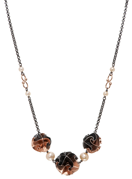3 Bead Flora Necklace in Rose Gold