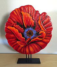 Red Empress Poppy by Anne Nye (Art Glass Sculpture)