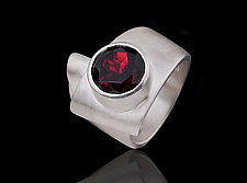 Folded Garnet Ring by Diana Widman (Silver & Stone Ring)