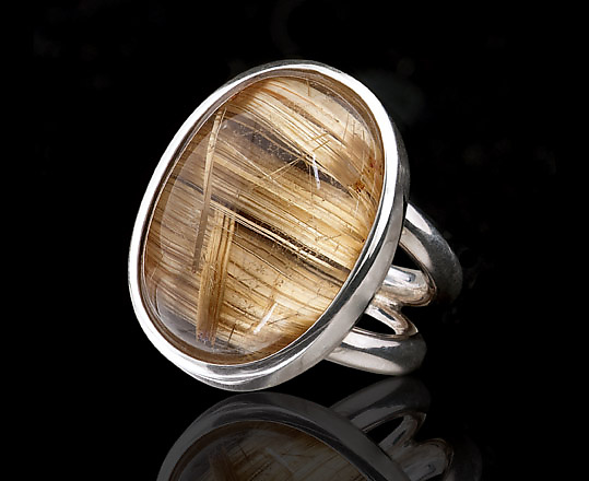 Two-Tone Rutilated Quartz Ring