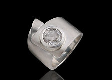 Silver Ribbon Ring with White Topaz by Diana Widman (Silver & Stone Ring)