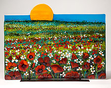 Red Poppy Sunrise by Anne Nye (Art Glass Sculpture)
