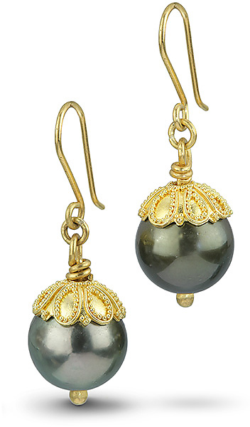 22k Gold & Tahitian Pearl Earrings