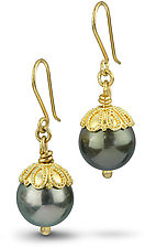 22k Gold & Tahitian Pearl Earrings by Nancy Troske (Gold & Pearl Earrings)