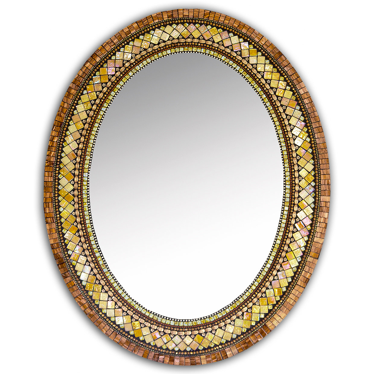 Golden bronze mosaic mirror by angie heinrich mosaic for Large portrait mirror