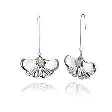 Summer Ginkgo Leaf Earring by ChiaChien Tsai (Silver & Stone Earrings)