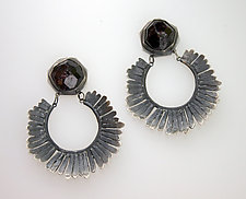 Feathered Earring with Raw Garnets by Ashley Vick (Silver & Stone Earrings)