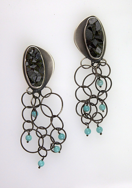 Black Garnets with Turquoise
