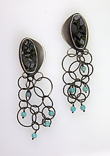 Black Garnets with Turquoise by Ashley Vick (Silver & Stone Earrings)